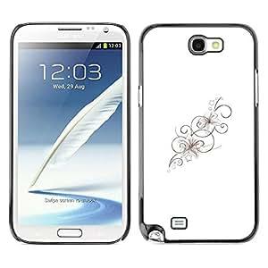Paccase / SLIM PC / Aliminium Casa Carcasa Funda Case Cover - Floral Lines Pattern Spring Clean - Samsung Note 2 N7100