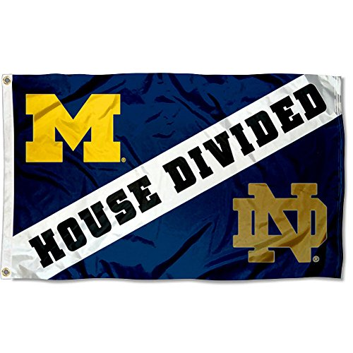 College Flags and Banners Co. Michigan vs. Notre Dame House Divided 3x5 Flag