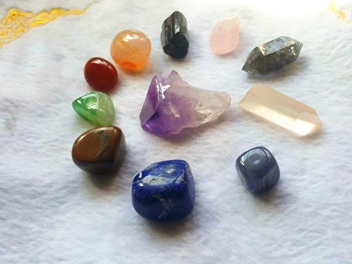 Besthk 11 pcs Chakra Crystal Healing Kit / Lot of 7 Chakra tumbles,Rough Clear Quartz Point ,Amethyst Point,Black Tourmaline,Black Phantom Double point