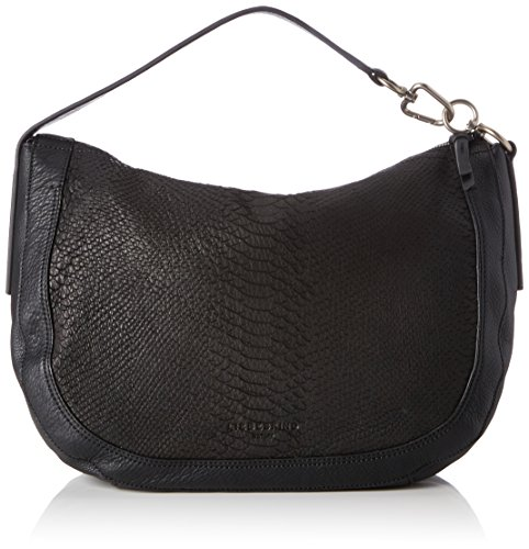 Liebeskind Berlin Women's Troyes Lasercut Leather Snakeskin Hobo, black