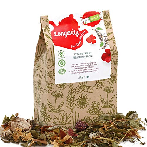 Ecoflavour Longevity Tea, Herbal Loose Leaf Tea, Premium 33-Herb Blend, Finest Ingredients, Handmade, Non-GMO, No Dyes, Pesticide-Free, No Added Flavours, No Artificial Additives, Sugar-Free, 30g (Spring Tea Dragon Longevity)