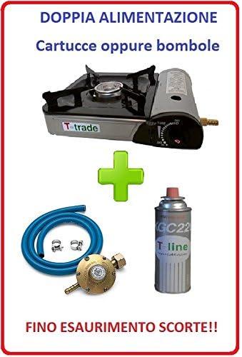 Hornillo de mesa tipo bistro potencia 2200 W con encendido piezoeléctrico funcionamiento con doble alimentación (cartucho de gas o bombona) incluido 1 ...