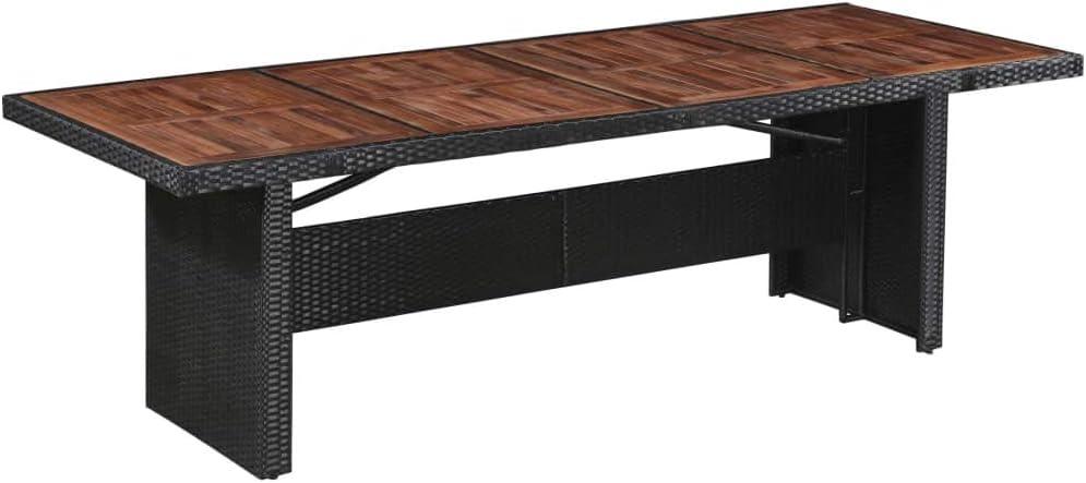 vidaXL Legno Massello e Polyrattan Tavolo da Giardino 240x90x74 cm Tavola