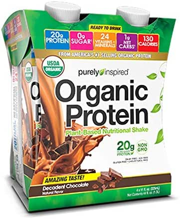 Purely Inspired Organic Protein RTD Chocolate, 11 Fl Oz (Pack of 4)