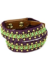 "Fiona Paxton ""AFRICAN SUSHI"" Belinda Double Wrap Green Cuff Bracelet"