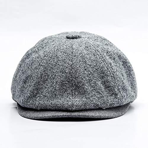 83e20ec8ea eud-UW Winter Men Wool Berets Casual Wide Berets hat Tweed British Vintage  Peaky Blinders hat 60cm,Light Grey,58cm