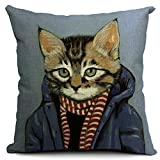 European Style 18 X 18 Inch Cotton Blend Linen Cute Cats Dogs Throw Pillow Cover Cushion Case For Home Bedding Car Sofa Decoration (Dark Blue)