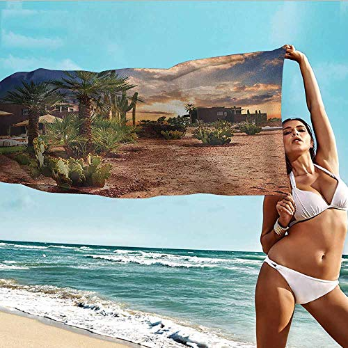 TT.HOME Athletic Towel,Desert Majestic Sky View Palm Trees and Cactus in Oasis Morocco Tropic Nature,Soft Fast Drying Travel Gym Washcloths,W35x12L, Blue Green Pale Brown (Desert Bowling Palm)