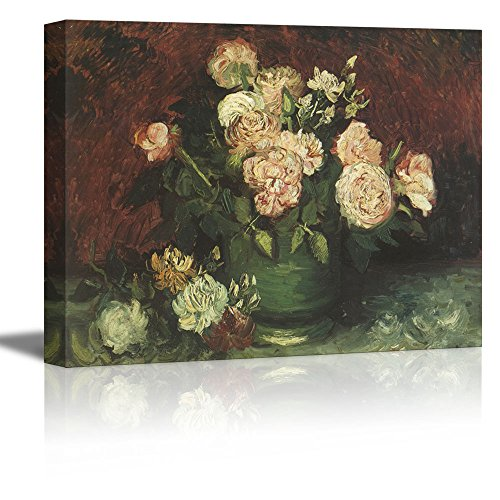 Wall26 - Bowl with Peonies and Roses by Vincent Van Gogh - Oil Painting Reproduction on Canvas Prints Wall Art, Ready to Hang - 36