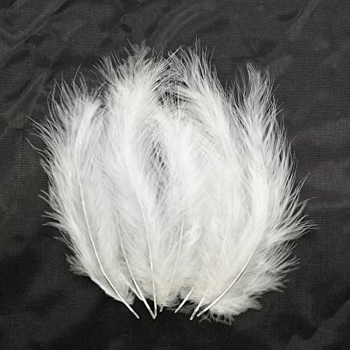 - 100pcs Turkey Flat Feathers Fluffy Feathers Fringe Trim Colorful Dyed Feather for Crafts Decoration Accessories 3.9-5.9 inch (White)