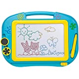 ikidsislands IKS88B [Travel Size] Color Magnetic Drawing Board for Kids & Toddlers - Non Toxic Mini Magna Sketch Doodle Educational Toy for Boys, with 1 Pen & 2 Stamps (Blue)