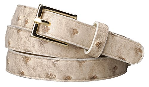 Rounded Square Buckle Belt (Womens Square Buckle Color Ostrich Print Leather Skinny Belt (XL(37.5