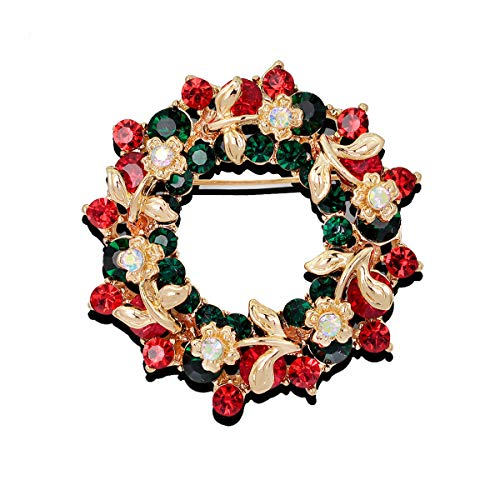 GAOZONGTER Merry Christmas Tree Holiday Christmas Brooches for Women Men Pins Jewelry Party Decorations (Round Wreath)