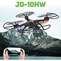 Leewa@ JD-10HW Led Night Fly 2.4G 4CH 6-Axis 2MP Camera WIFI FPV Drone RC Quadcopter -Black