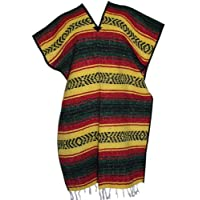 Del Mex Classic Mexican Blanket Poncho, Yellow