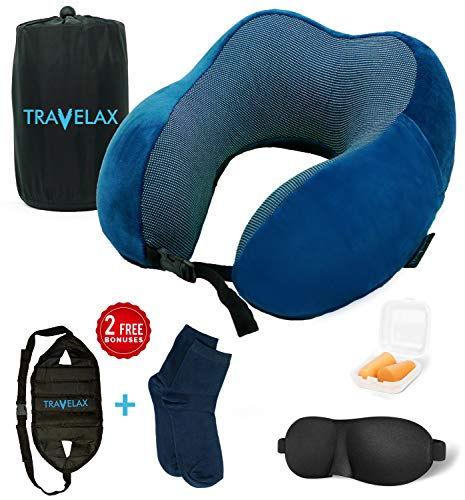 TRAVELAX Travel Kit Contains 100% Pure Memory Foam Neck Pillow with Ultra Plush Velour Cover, Sleep Mask, Earplugs, Adjustable-Height Footrest Hammock and Airplane Socks