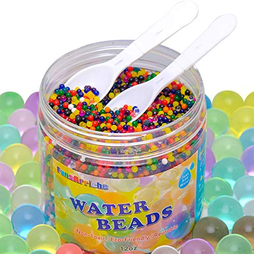 FansArriche Water Beads for Kids Non Toxic and 2 Mini Scoop 12 OZ Bulk for Sensory Play Spa Refill and Decor