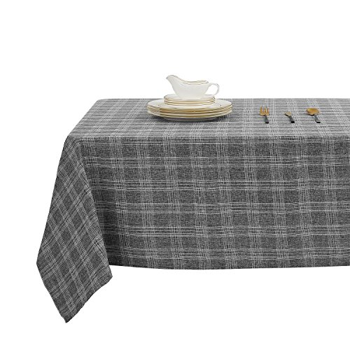 (Deconovo Buffalo Portable Tablecloth Water and Wrinkle Resistant Square Tablecloths for Square Tables 54 x 54 Inch Dark Grey)