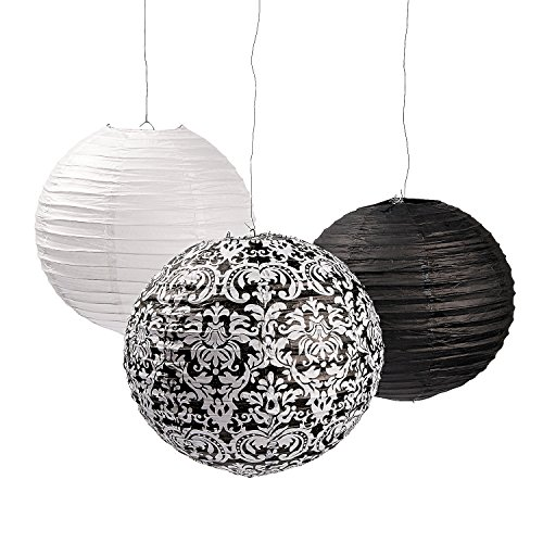 Fun Express - Black & White Damask Paper Lanterns for Wedding - Party Decor - Hanging Decor - Lanterns - Wedding - 6 Pieces -