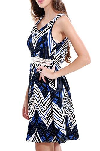 YACUN Frauen Chevron Print Tank Passform und Flare Kleid