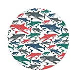 iPrint Polyester Round Tablecloth,Sea Animal Decor,Mix of Colorful Bull Shark Family Pattern Masters of Survival Kids Nursery,Multi,Dining Room Kitchen Picnic Table Cloth Cover,for Outdoor Indoor