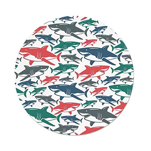 iPrint Polyester Round Tablecloth,Sea Animal Decor,Mix of Colorful Bull Shark Family Pattern Masters of Survival Kids Nursery,Multi,Dining Room Kitchen Picnic Table Cloth Cover,for Outdoor Indoor by iPrint