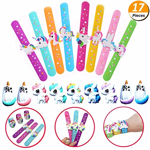 Mcree 17Pcs Unicorn Party Set-8 Slap Bracelets with Star Print 9 Slime Beads, Unicorn Party Supplies Party Favor Novelty Toy, Slim Sweety Candy Color Girls Phone Decor, Diy Crafts Ornament Scrapbook