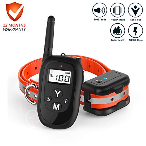 Dog Training Collar, 2019 Upgraded Rechargeable Dog Shock Collar with 1000Ft Remote Range for 3 Training Modes,Beep/ Vibration/Shock, 100% Waterproof Training Collar for Small Medium Large Dogs