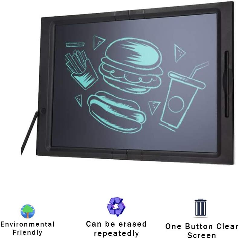 JRMU 20-inch Blackboard LCD Writing Tablet Abs Digital Notepad Electronic Drawing Tablet Hangable Doodle Board Erase Button Lock Included for Kids Adult-Black 48x34x1.4cm