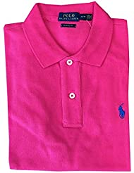 Polo Ralph Lauren Womens Classic Fit Mesh Polo Shirt (X-Large, Shocking Pink)
