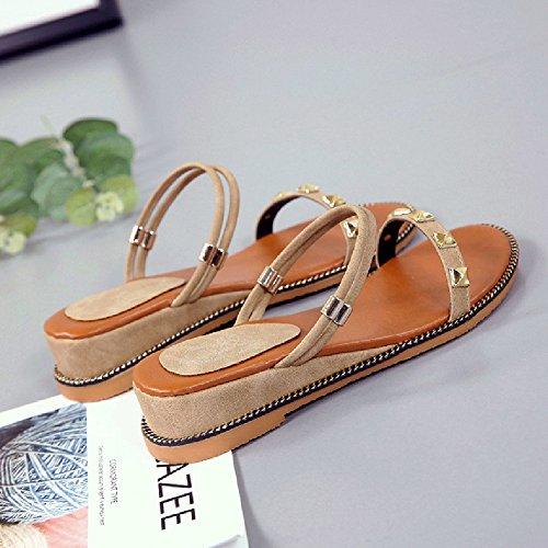 A Flats Toe Summer Open Sandals For Women Shoes Slides on Btrada apricot Slip fwxqPzSo