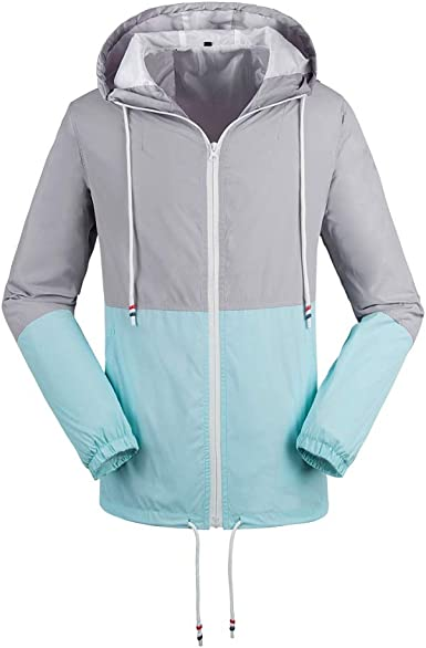 Daxvens Women Rain Jackets Waterproof Lightweight Raincoat Outdoor Active Windbreaker with Hood
