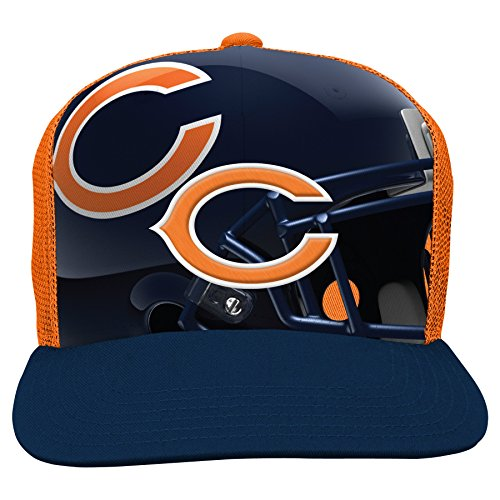 NFL Chicago Bears Boys 8-20 Stealth Flat Brim Hat with Mesh Back, Youth One Size, - Accessories Chicago Bears Kids