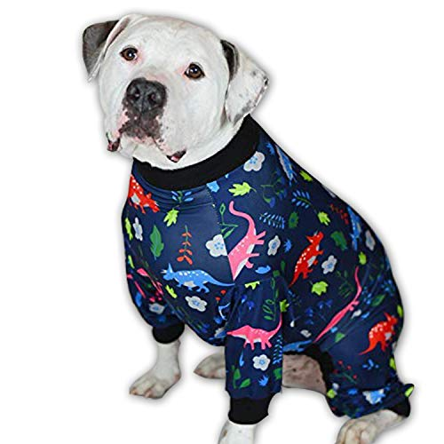 Tooth & Honey Big Dog Pajamas/Dinosaur Dog Pajamas/Slim fit/Lightweight Pullover Pajamas/Full Coverage Dog pjs/Please REASE Size Chart Before Ordering. (Large)