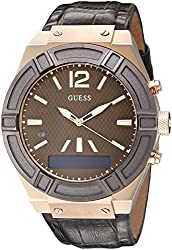 Guess Men's Stainless Steel Connect Smart Watch - Amazon Alexa, Ios & Android Compatible Ios & Android Compatible, Color: Brown (Model: C0001g2)