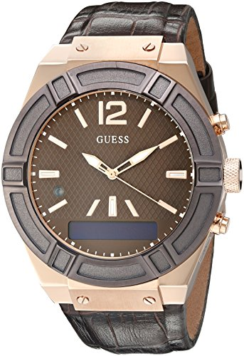 GUESS Men's Stainless Steel Connect Smart Watch - Amazon Alexa, iOS and Android Compatible iOS and Android Compatible, Color: Brown (Model: C0001G2) ()