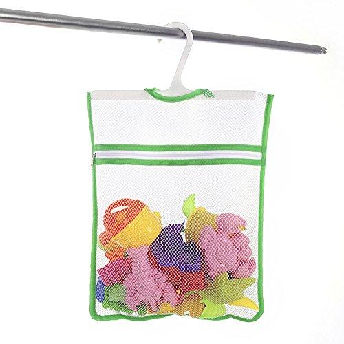 LECENT @ Bath Toyメッシュオーガナイザーバスルームストレージネットバッグポケット付きベビーおむつ、シャワービデ、化粧品+ Hooked -11.4 ' x15 ' ブルー B078V88TZF グリーン