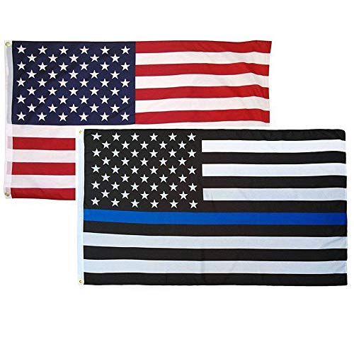 2 Pack 3x5 Foot Thin Blue Line + USA American Flag Poilce Honoring Law Enforcement Officers Flags Vivid Color and UV Fade Resistant Polyester with Brass Grommets By HomeSmith