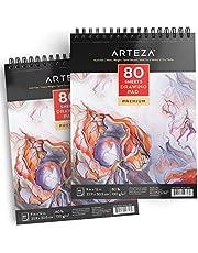ARTEZA Cuadernos de dibujo | Pack de 2 blocs de 80 hojas cada uno | Papel grueso de 130g | Ideales para dibujo artístico con medios secos