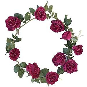 "DALAMODA Wine Red 10 Heads Rose Vine 72"" Length Artificial Fake Silk Flowers Rose Garland Plant Vine Home Garden Wall Wedding Decor Pack of 2 (Wine RED #1) 43"