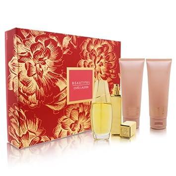 Beautiful by Estee Lauder for Women Romantic Destination 4 Piece Set Includes 2.5 oz Eau de Parfum Spray 3.4 oz Perfumed Body Lotion 3.4 oz Bath and Shower Gel 0.17 oz Eau de Parfum Travel Spray
