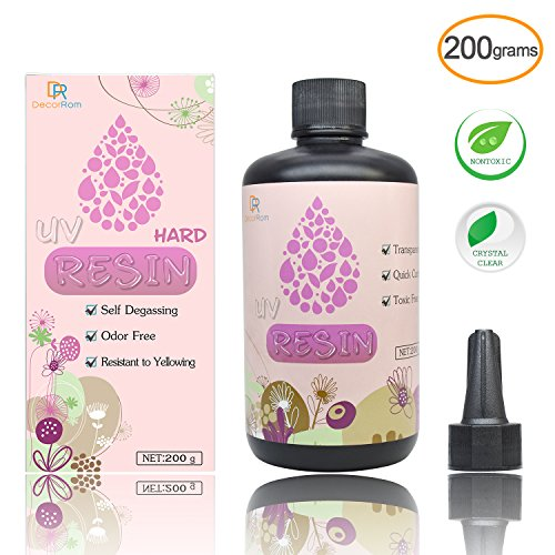 UV Resin - 200g Hard Type Crystal Clear Glue Ultraviolet Curing Epoxy Resin for Jewelry Making Craft Decoration - Transparent Solar Cure Sunlight Activated Resin for Resin Mold, Casting and Coating by DecorRom