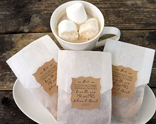 Hot Cocoa Wedding Favor, Hot Chocolate and Marshmallow Bags, Personalized Kraft Paper Stickers, Fall Wedding, Winter Favor, Bridal Shower - Set of 20 (Favors Wedding Hot Cocoa)