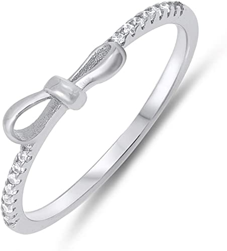Bow Cubic Zirconia .925 Sterling Silver Ring Sizes 4-10