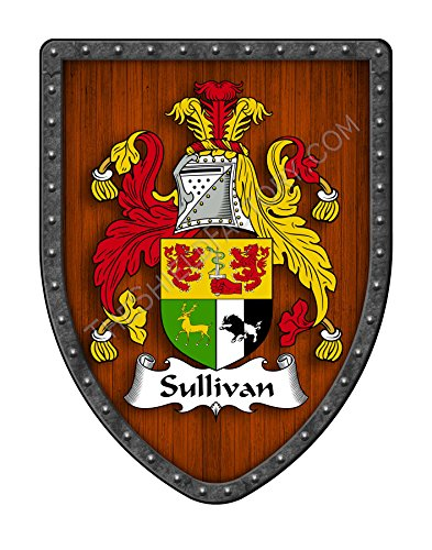 Sullivan Family Crest Custom Coat of Arms , Family Ancestry and Heritage Hanging Metal Shield - Hand Made in the USA