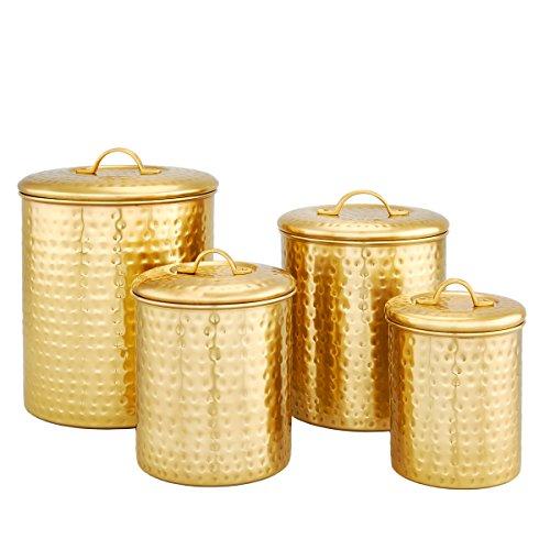 ece Decor Champagne Hammered Storage Canister Set, 2, 1.5 1 Qt, Satin ()