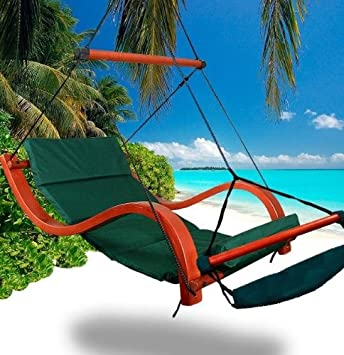 new deluxe patio hanging air padded swing lounger hammock chair   green amazon     new deluxe patio hanging air padded swing lounger      rh   amazon