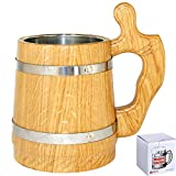 Wooden Beer Mug 20 oz for Men. Handmade Coffee Drinking Cup. Large Pirate Pint Wood Stein. Viking Ale Mead Tankard with Handle. Fathers Day, Birthday Cool Gift Box. Funny Anniversary Accessories Review