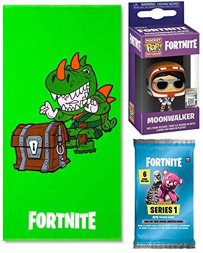 Fortnite Shine Green Rex Character Bath & Beach Towel Bundled with Bright Gamer Series Moonwalker Mini Figure Backpack Hanger Pop! Keychain Bundled Trading Action Cards 3 Items