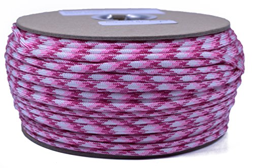 Bored Paracord - 1', 10', 25', 50', 100' Hanks & 250', 1000' Spools of Parachute 550 Cord Type III 7 Strand Paracord Well Over 300 Colors - Breast Cancer Awareness - 250 Foot Spool -